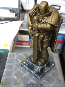 Giant space marine stands guard