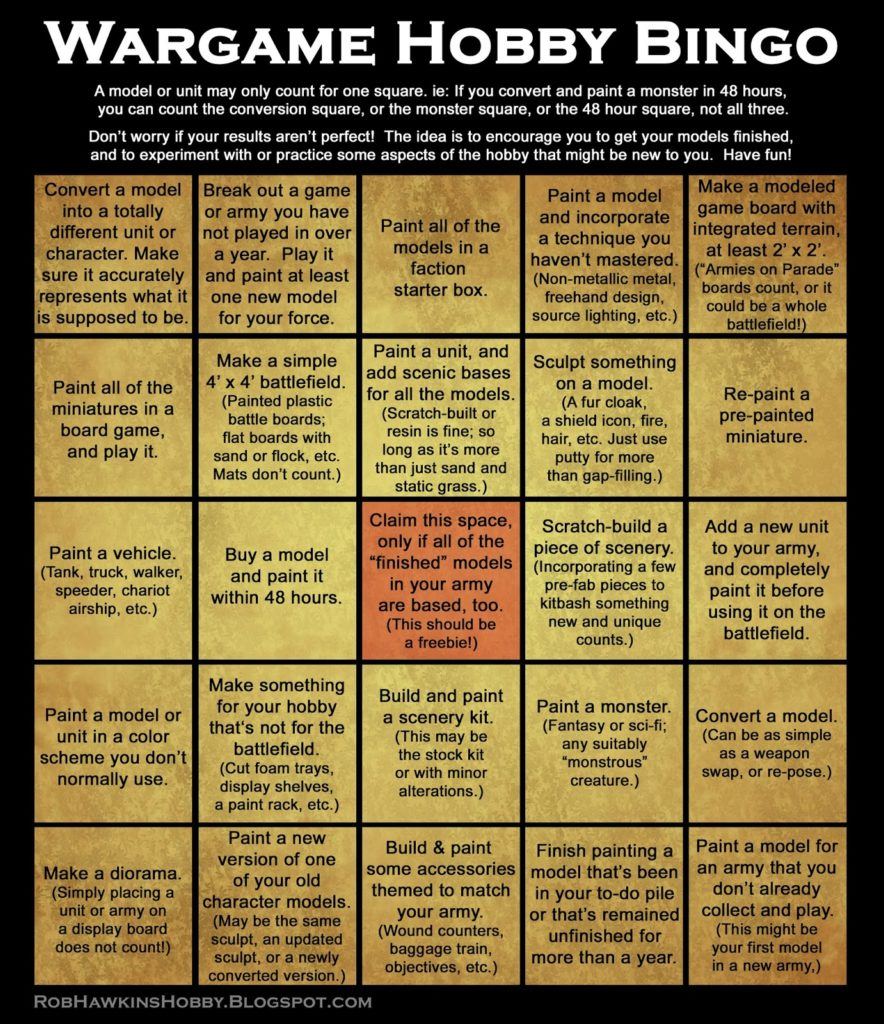 5x5 Bingo Card with hobby activities for 2018